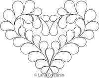 Digital Quilting Design Honeymoon Feathered Heart by Lana Corcoran.