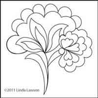 Digital Quilting Design Jacobean Single Flower by Linda Lawson.