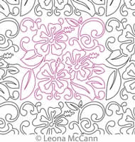 Digital Quilting Design Hawaiian Flower Border and Panto 6 by Leona McCann.