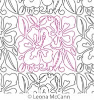 Digital Quilting Design Hawaiian Flower Border and Panto 9 by Leona McCann.