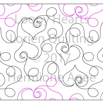 Digital Quilting Design Loopy Hearts by Lorien Quilting.