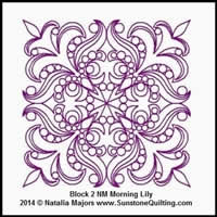 Digital Quilting Design Morning Lily Block 2 by Natalia Majors.