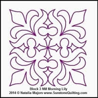 Digital Quilting Design Morning Lily Block 3 by Natalia Majors.