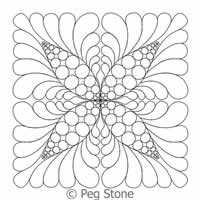 Digital Quilting Design Beaded Feather 4-Square Block by Peg Stone.