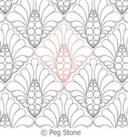 Digital Quilting Design Beaded Feather Panto by Peg Stone.