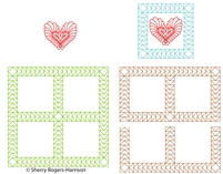 Digital Quilting Design Goosebumps Frame and Feather Heart Set by Sherry Rogers-Harrison.