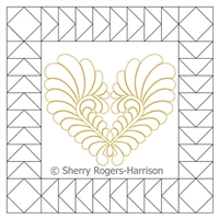 Digital Quilting Design Goosebumps Single Frame and Feather Heart Set by Sherry Rogers-Harrison.