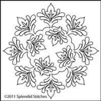 Digital Quilting Design Leaf Arabesque Wreath by Splendid Stitches.