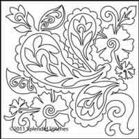 Digital Quilting Design Paisley Wholecloth Motif V4 by Splendid Stitches.