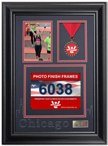 Chicago Marathon Race Photo and Finishing Medal Display Frame