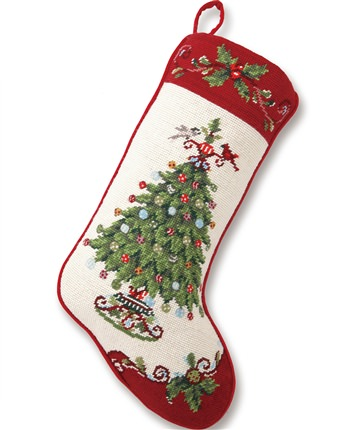 White Holly Garden Christmas Stocking
