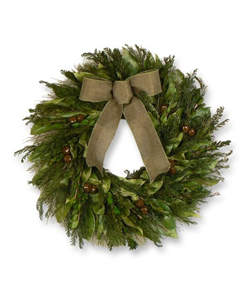 22 Inch Natural Evergreen Christmas Wreath