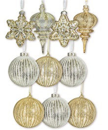 Gold and Silver Glass Ornament Set