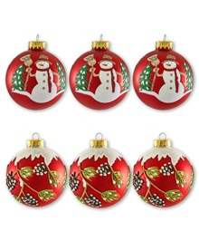 Snowman and Holly Glass Ornament Set