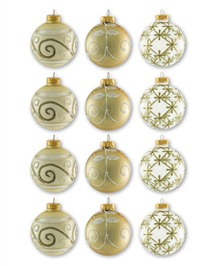 Glass Champagne Assorted Ornament Set