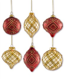 Red and Gold Assorted Teardrop Ornaments