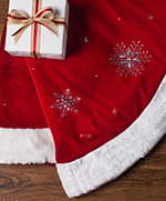 48 inch Red Beaded Snowflake Tree Skirt