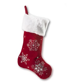 Santa's Red Beaded Christmas Stocking