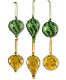 Green & Gold Glitter Glass Ornament Set