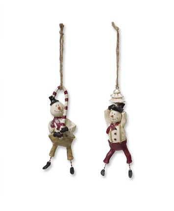 White Snowmen Christmas Ornaments