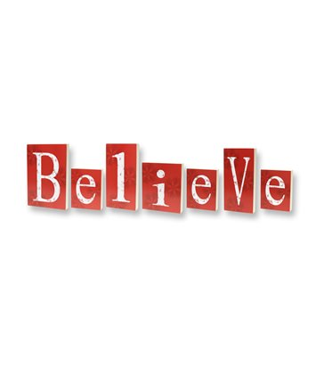 7 Inch Believe Red Decorative Blocks
