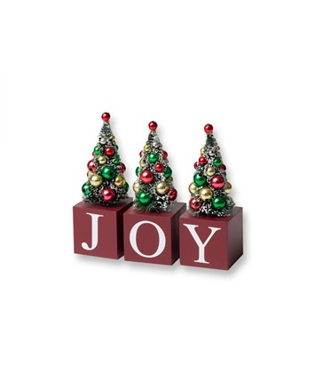 5 Inch Joy Decorative Blocks with Green Christmas Trees