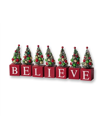 5 Inch Believe Decorative Blocks with Green Christmas Trees