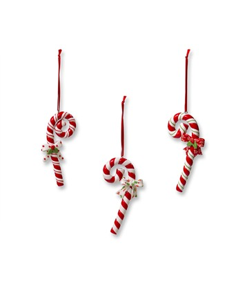 Candy Cane with Bow Christmas Ornaments