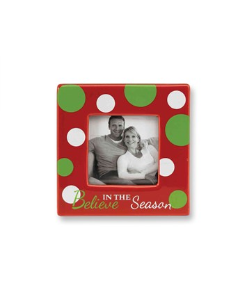 Believe in the Season Red Polka Dot Picture Frame