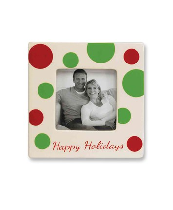Merry Christmas White Polka Dot Picture Frame