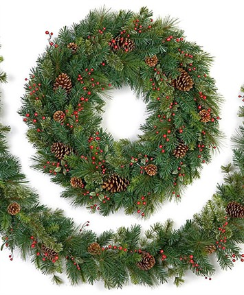 cordless led sugar pine wreaths and garlands
