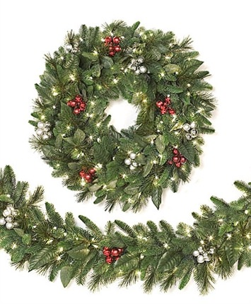 escada evergreen wreaths garlands