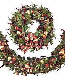 72 inch Rustic Pinecone & Berries Holiday Wreath