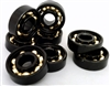 Set of 8 Skateboard Black Open Bearings with Bronze Cage  8x22x7mm