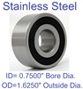"S1630-2RS Bearing Stainless Steel Sealed 3/4""x1 5/8""x1/2"" inch Bearings"