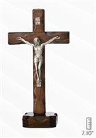 Walnut Crucifix, Silver Corpus, 7.1 inches