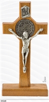 St Benedict Wooden Cross on Base, Silver Corpus