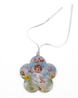 Angel with Butterfly Baby Crib Medal With Ribbon