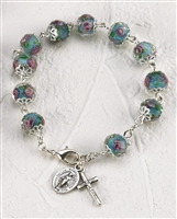 Genuine Crystal Rose Rosary Bracelet with Miraculous Medal and Crucifix