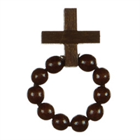 Decade Rosary, Boy Scout, Brown Wooden Beads