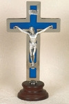 Silver with Blue Inlay Cross on Wood Base