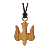 Olive Wood Dove Pendant, Brown String 13""