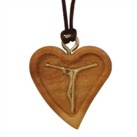 Olive Wood Heart Pendant