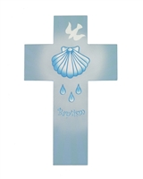Wood Cross Baptism Blue