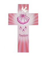 Wood Cross Baptism Pink