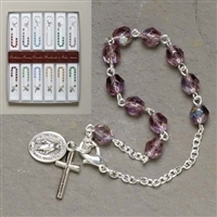 February Glass Birthstone Rosary Bracelet 7.5""