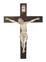 Crucifix-alabaster-white antiqued corpus