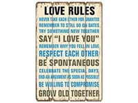 Love Rules Vintage Wooden Sign