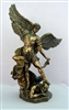 St. Michael Statue, Cold-Cast Bronze, Lightly Hand-painted, 14.5""