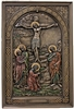 Crucifixion plaque in lightly hand-painted cold cast bronze 6x9""